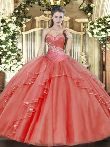 Flirting Floor Length Ball Gowns Sleeveless Coral Red Ball Gown Prom Dress Lace Up