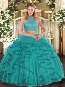 Free and Easy Turquoise Two Pieces Beading and Ruffled Layers Quinceanera Dress Criss Cross Tulle Sleeveless Floor Length