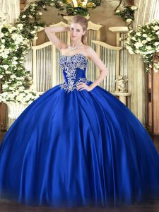 Royal Blue Ball Gowns Beading Quinceanera Dresses Lace Up Satin Sleeveless Floor Length