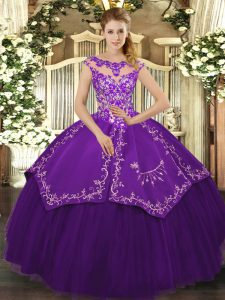 Amazing Purple Quinceanera Dress Sweet 16 and Quinceanera with Beading and Embroidery Scoop Cap Sleeves Lace Up
