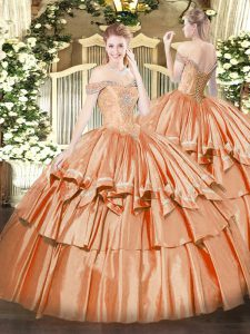 Ball Gowns 15th Birthday Dress Orange Red Off The Shoulder Organza Sleeveless Floor Length Lace Up