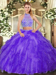 Flare Sleeveless Tulle Floor Length Criss Cross 15th Birthday Dress in Purple with Beading and Ruffles