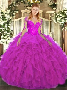 Affordable Long Sleeves Floor Length Lace and Ruffles Lace Up Quinceanera Gowns with Fuchsia