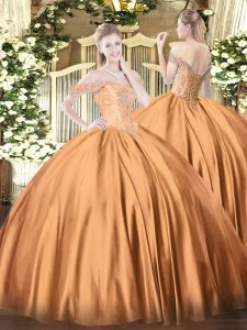 Super Off The Shoulder Sleeveless Lace Up 15 Quinceanera Dress Rust Red Satin