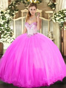 Beading Sweet 16 Dresses Rose Pink Lace Up Sleeveless Floor Length