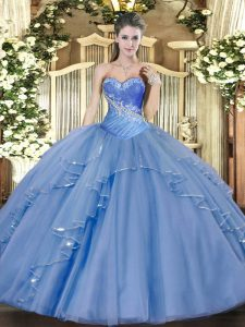 Aqua Blue Sweetheart Lace Up Beading and Ruffles 15 Quinceanera Dress Sleeveless