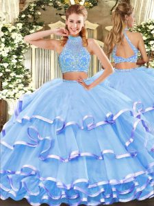 Aqua Blue Tulle Criss Cross Halter Top Sleeveless Floor Length Vestidos de Quinceanera Beading and Ruffled Layers