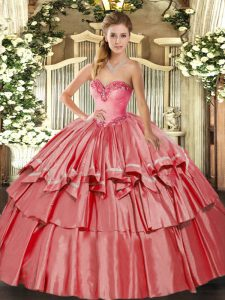 Luxurious Coral Red Lace Up Vestidos de Quinceanera Beading and Ruffled Layers Sleeveless Floor Length