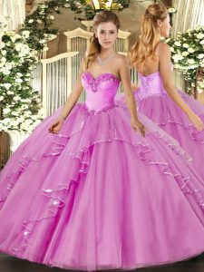 Sweetheart Sleeveless Tulle Quinceanera Gowns Beading and Ruffles Lace Up