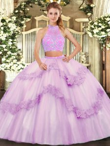 Ideal Lilac Sleeveless Beading and Appliques and Ruffles Floor Length Sweet 16 Dress