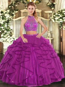 Fuchsia Criss Cross Halter Top Beading and Ruffled Layers Quinceanera Dress Tulle Sleeveless