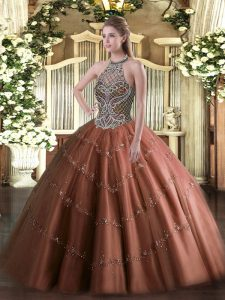 High Class Halter Top Sleeveless Tulle Ball Gown Prom Dress Beading Lace Up