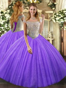Luxury Lavender Sleeveless Floor Length Beading Lace Up Quinceanera Dresses