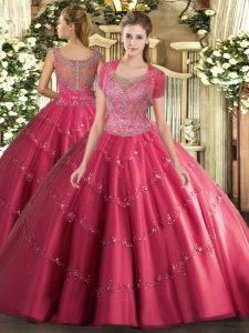 Scoop Sleeveless Quince Ball Gowns Floor Length Beading and Appliques Hot Pink Tulle