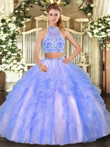 Tulle Strapless Sleeveless Criss Cross Beading and Ruffled Layers Sweet 16 Dress in Lavender