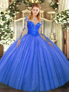 Affordable Long Sleeves Lace Up Floor Length Lace Ball Gown Prom Dress