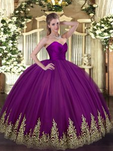 Hot Sale Purple Ball Gowns Appliques Quinceanera Gowns Zipper Tulle Sleeveless Floor Length