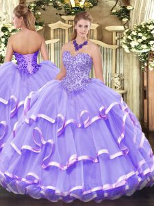 Fantastic Lavender Sweetheart Neckline Appliques and Ruffled Layers Quinceanera Dresses Sleeveless Lace Up