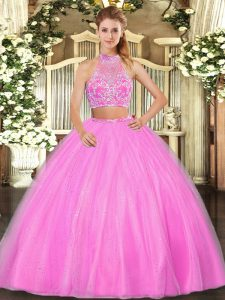 Halter Top Sleeveless Criss Cross Quinceanera Dresses Hot Pink Tulle