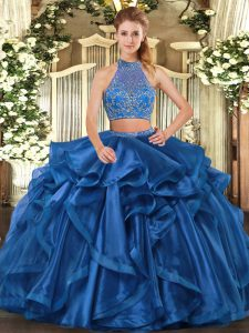 Floor Length Blue Quinceanera Gowns Organza Sleeveless Beading and Ruffled Layers