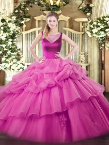 Sophisticated Lilac Ball Gowns Organza Scoop Sleeveless Beading and Appliques Floor Length Side Zipper Quinceanera Gown