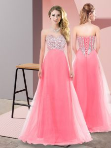 Exceptional Watermelon Red Lace Up Quinceanera Dama Dress Beading Sleeveless Floor Length