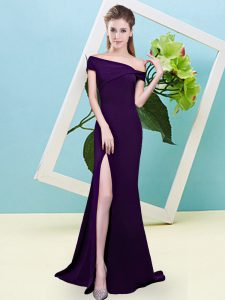 Ideal Dark Purple Sleeveless Floor Length Ruching Zipper Court Dresses for Sweet 16