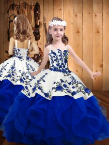 Stunning Sleeveless Floor Length Embroidery and Ruffles Lace Up Kids Formal Wear with Royal Blue