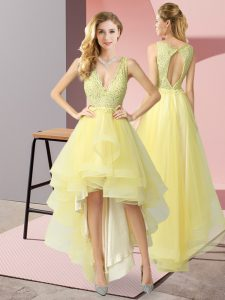High Low Yellow Quinceanera Court Dresses V-neck Sleeveless Backless