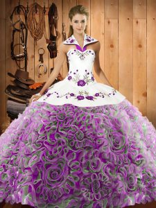 Suitable Multi-color Halter Top Lace Up Embroidery Quinceanera Gown Sweep Train Sleeveless