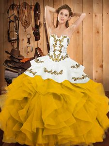 Hot Sale Sleeveless Floor Length Embroidery and Ruffles Lace Up Vestidos de Quinceanera with Yellow And White