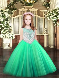 Floor Length Ball Gowns Sleeveless Turquoise Kids Formal Wear Zipper