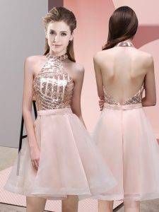 Baby Pink Halter Top Neckline Sequins Quinceanera Court Dresses Sleeveless Backless