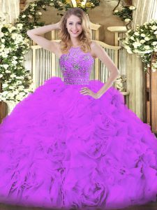 Cheap Eggplant Purple Sleeveless Tulle Zipper Quinceanera Dress for Military Ball and Sweet 16 and Quinceanera