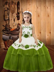 Olive Green Straps Neckline Embroidery and Ruffled Layers Little Girl Pageant Dress Sleeveless Lace Up