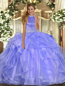 Best Selling Lavender 15th Birthday Dress Military Ball and Sweet 16 and Quinceanera with Beading and Ruffles Halter Top Sleeveless Backless