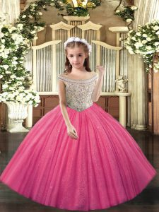 Most Popular Sleeveless Beading Lace Up Pageant Gowns For Girls
