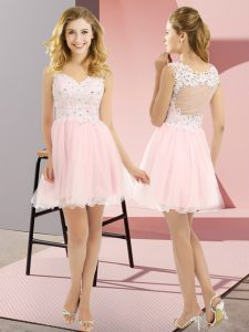 Baby Pink Empire Tulle V-neck Sleeveless Beading and Lace Mini Length Lace Up Quinceanera Court Dresses