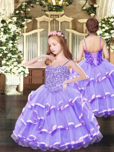 Lavender Ball Gowns Organza Spaghetti Straps Sleeveless Appliques and Ruffled Layers Floor Length Lace Up Little Girl Pageant Dress