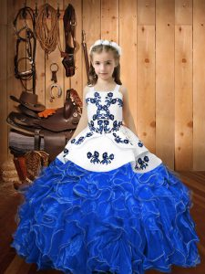 Straps Sleeveless Lace Up Little Girl Pageant Dress Blue Organza