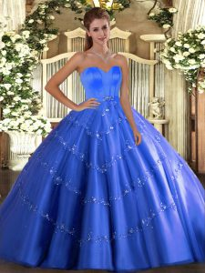 Sweetheart Sleeveless 15th Birthday Dress Floor Length Beading and Appliques Blue Tulle