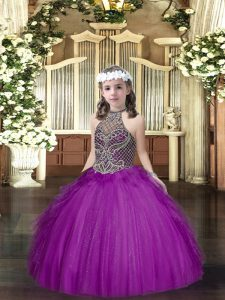 High End Purple Ball Gowns Halter Top Sleeveless Tulle Floor Length Lace Up Beading and Ruffles Little Girls Pageant Gowns