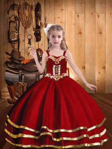 Excellent Red Ball Gowns Organza Straps Sleeveless Beading and Embroidery and Ruffled Layers Floor Length Lace Up Kids Pageant Dress