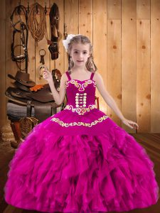 Sleeveless Lace Up Floor Length Embroidery and Ruffles Little Girls Pageant Dress Wholesale