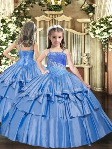 Baby Blue Little Girl Pageant Gowns Party and Quinceanera with Beading and Ruffled Layers Straps Sleeveless Lace Up