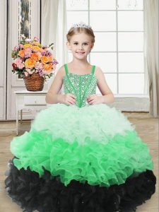 Sleeveless Organza Floor Length Lace Up Kids Formal Wear in Multi-color with Beading and Ruffles