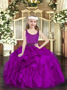 Customized Fuchsia Zipper Kids Formal Wear Beading and Ruffles Sleeveless Floor Length