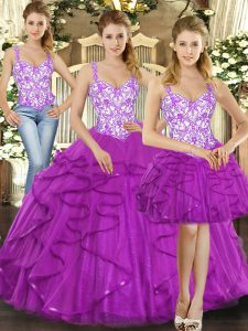 New Style Straps Sleeveless Organza 15 Quinceanera Dress Beading and Ruffles Lace Up