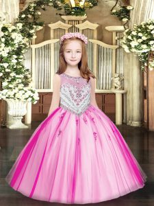 Customized Fuchsia Scoop Zipper Beading and Appliques Little Girl Pageant Dress Sleeveless