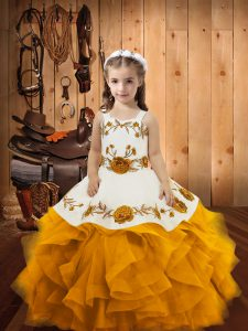 Cheap Gold Lace Up Pageant Gowns For Girls Embroidery and Ruffles Sleeveless Floor Length
